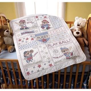Baseball Buddies Crib Cover Stamped Cross Stitch Kit