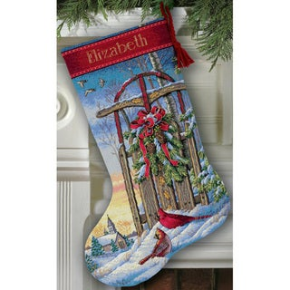 Gold Collection Sled Stocking Counted Cross Stitch KIt