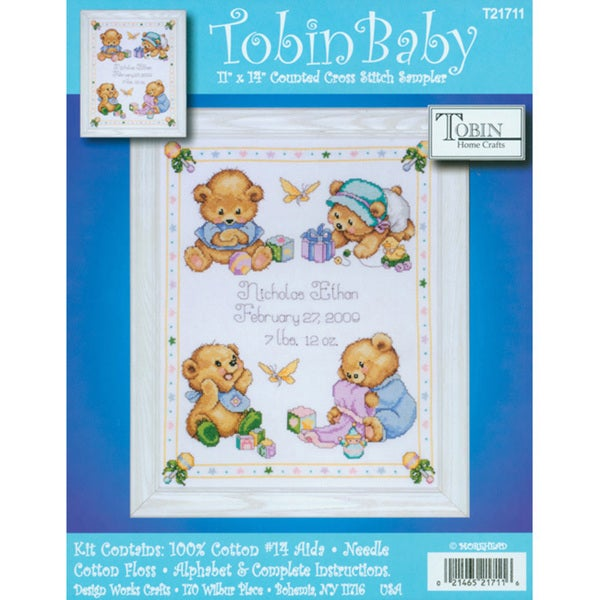Baby Bears Birth Record Counted Cross Stitch Kit 8375819