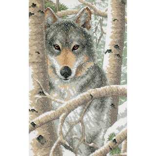 Wintry Wolf Stamped Cross Stitch Kit