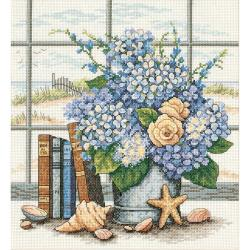 Dimensions Hydrangeas And Shells Cross Stitch Kit
