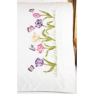 Janlynn Tulip Garden Pillowcase Pair Stamped Embroidery Kit