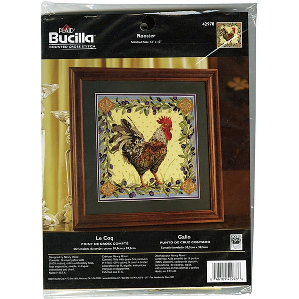 Bucilla Rooster Counted 14-count Cross Stich Kit