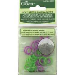 Clover Green/Purple Plastic Soft-stitch Ring Markers (Pack of 30)