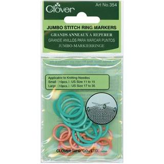 Clover Jumbo Stitch Knitting/Crochet Plastic Marker Rings (Pack of 20)