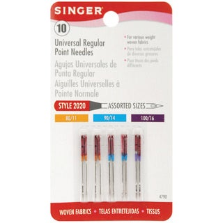 Singer Regular Point Machine Needles (Pack of 10) - Assorted