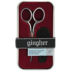 Gingher 4-inch Leather Sheath Curved Embroidery Scissors
