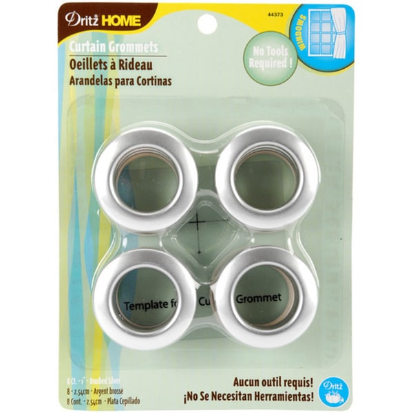 Eight-pack Dritz Brushed-silver Machine-washable Curtain Grommets