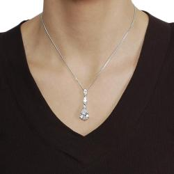 Journee Collection Silvertone Pave-set Pear-cut CZ Necklace
