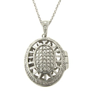 Finesque Silver Overlay Diamond Accent Oval Locket Necklace
