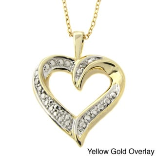 Finesque Gold or Silver Overlay Diamond Accent Heart Necklace