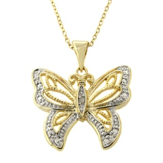 Finesque 14k Gold Overlay Diamond Accent Butterfly Necklace