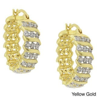 Finesque 14k Gold Overlay Diamond Accent 'S' Design Hoop Earrings