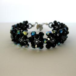 Stainless Steel Glass and Hematite Bead Flower Bracelet (USA)