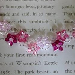 Stainless Steel Delicate Pink Flower Bracelet (USA)