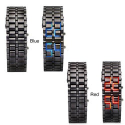 Stainless-steel Lava LED Bracelet Watch with Digital Display