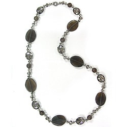 Pearlz Ocean Grey Agate and Glass Bead Necklace