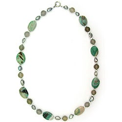 Pearlz Ocean Agate and Grey Freshwater Pearl Necklace (10-12 mm)