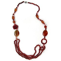 Pearlz Ocean Silvertone Red Agate, Resin and Glass Bead Bib Necklace