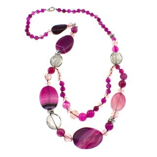 Pearlz Ocean Agate and Glass 32-inch Fashion Necklace