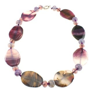 Pearlz Ocean Silvertone Agate and Glass Necklace