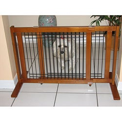 Crown Pet Chestnut Brown Wood and Wire Gate 40