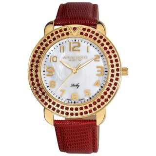 Akribos XXIV Ruby Leather Swiss Quartz Diamond Mother of Pearl Watch