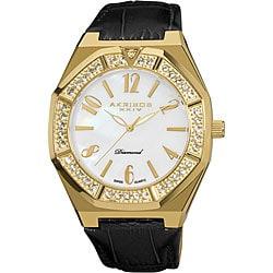 Black-and-Gold Akribos XXIV Men's Swiss Quartz Diamond Mother of Pearl Watch