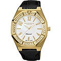 Black-and-Gold Akribos XXIV Men's Swiss Quartz Diamond Mother of Pearl Watch
