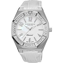 Stainless-Steel Akribos XXIV Men's Swiss Quartz Diamond Mother of Pearl Watch