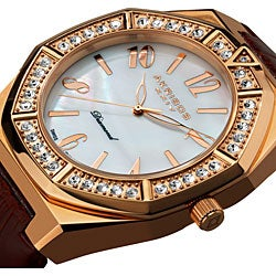 Akribos XXIV Men's Swiss Quartz Diamond Mother of Pearl Watch with Rose-Tone Markers