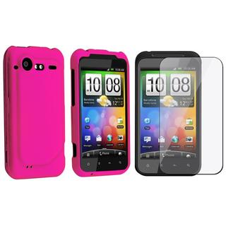Hot Pink Rubber Coated Case/ Screen Protector for HTC Droid Incredible
