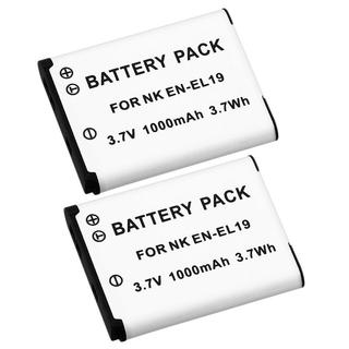 White Rechargeable Li-Ion Battery for Nikon EN-EL19 (Pack of Two)