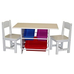 Kids Table with Two Chairs and Storage Bins Set
