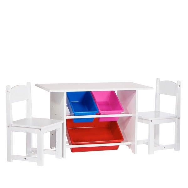 RiverRidge Kids Table with Two Chairs and Storage Bins Set