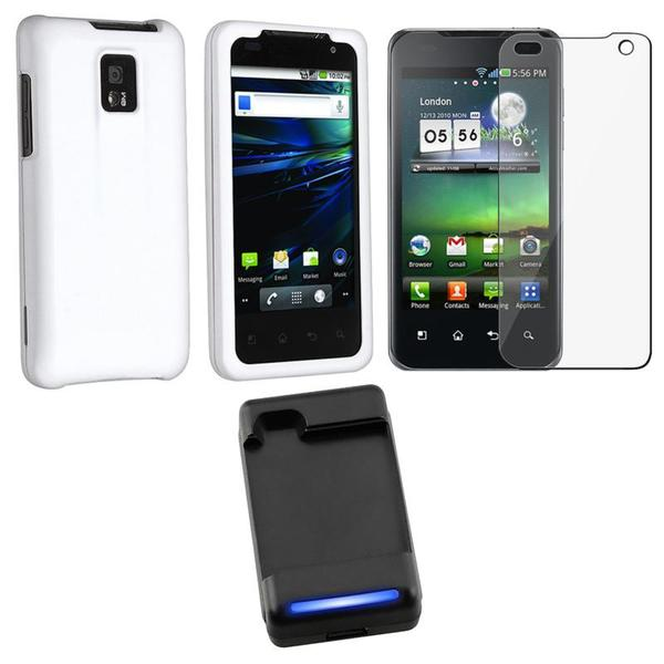 Battery Charger/ White Rubber Coated Case/ Screen Protector for LG G2X
