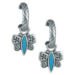Southwest Moon Silver Sleeping Beauty Turquoise Butterfly Earrings