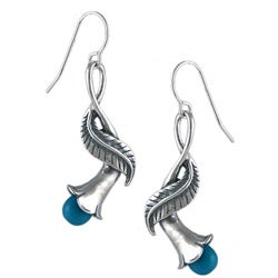 Southwest Moon Sterling Silver Sleeping Beauty Turquoise Lily Earrings
