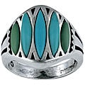Southwest Moon Sterling Silver Graduated Turquoise Marquise Ring