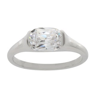 NEXTE Jewelry Silvertone Oval Cubic Zirconia Floating Solitaire Ring