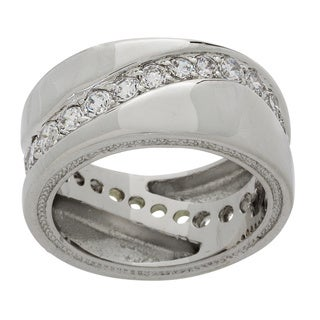 NEXTE Jewelry Silvertone Cubic Zirconia Eternity Band