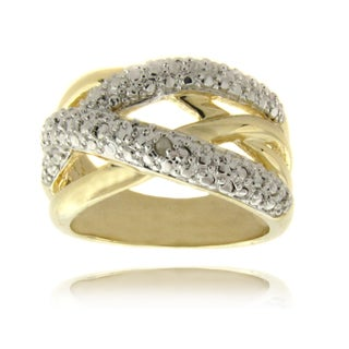 Finesque 14k Gold Overlay Diamond Accent Crossover Ring