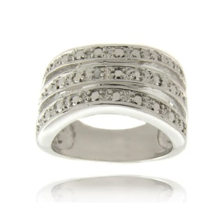 Finesque Silver Overlay Diamond Accent 3-band Ring