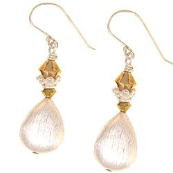 Misha Curtis Sterling Silver Goldtone Crystal Teardrop Earrings