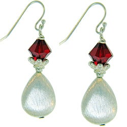 Misha Curtis Sterling Silver Red Crystal Teardrop Earrings