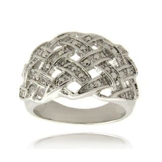 Finesque Silver Overlay Diamond Accent Weave Design Ring