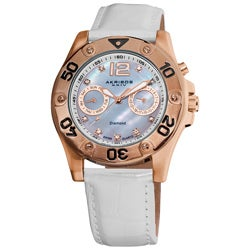 Akribos XXIV Women's White-Strap Diamond Multifunction Watch