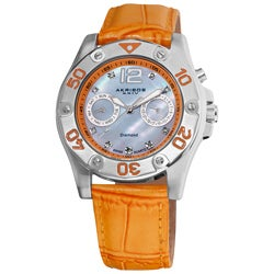 Akribos XXIV Women's Orange-Strap Diamond Multifunction Watch