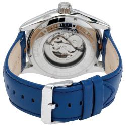 Akribos XXIV Men's Skeleton Automatic Genuine Leather Strap Watch