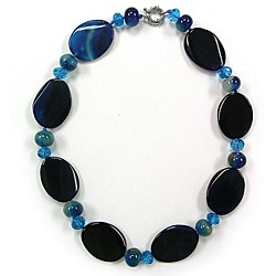 Pearlz Ocean Blue Agate and Glass Bead Necklace